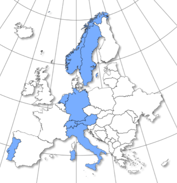 Participating countries within the European Nurse Professional Competence Project